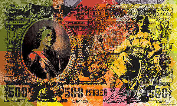 500 Ruble Banknote Pop Art Collage - #3 by Jean luc Comperat