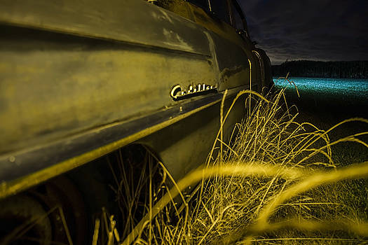50's Cadillac logo at night in yellow light by a cornfield  by Sven Brogren