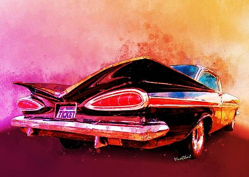 59 Chevy Ticket to Ride Watercolour by Chas Sinklier