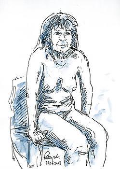 Frank Ramspott - Female Figure Drawing Sitting Pose Fountain Pen Ink