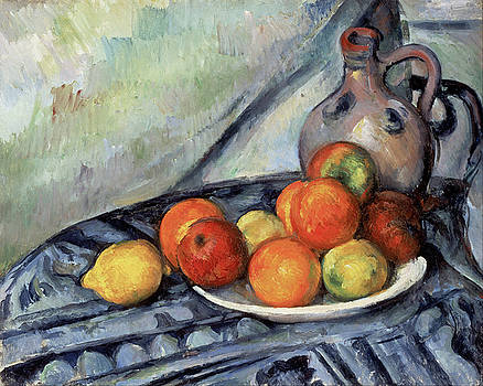 Fruit and a Jug on a Table by Paul Cezanne