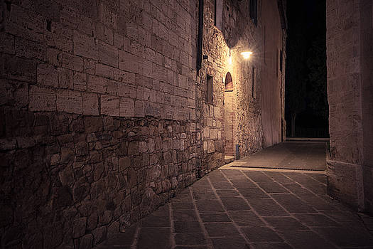 Old European street after dark by Nickolay Khoroshkov