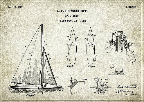 JESP Art and Decor - Sail Boat - Patent Drawing for the 1927  L. F.  Herreschoff Sail Boat