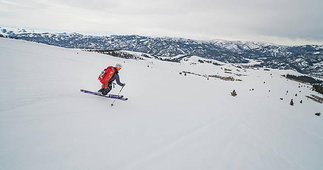 Shane Nelson skiing to Silver Peak near Sun Valley Idaho by Elijah Weber