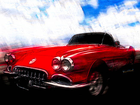 60 Corvette Ink and Watercolour Sketch by Chas Sinklier