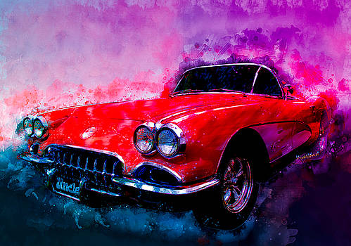 60 Red Corvette Watercolour Illustration by Chas Sinklier