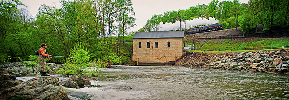 611 and Fisherman at Roanoke River power house by Matt Plyler