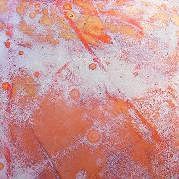 62. Square Red, Orange and White Organic Abstract by Maggie Minor