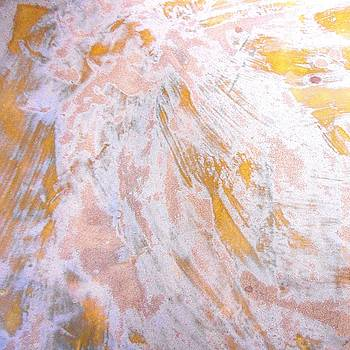 65. v1 Orange and White Organic Abstract by Maggie Minor