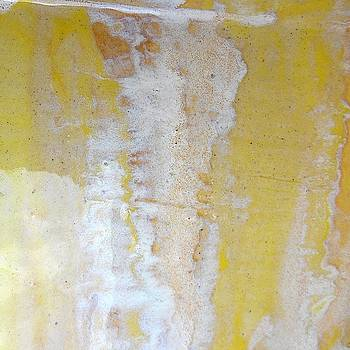 66. v1 Yellow and White Organic Stripped Abstract by Maggie Minor