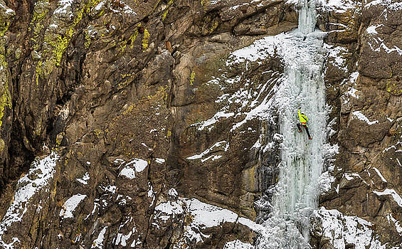 Ice Climber on a route called Hidden Falls WI3 near Homedale Ida by Elijah Weber