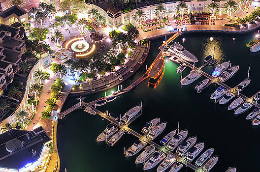 Majestic colorful dubai marina skyline during night. Dubai marina, United Arab Emirates. by Marek Kijevsky