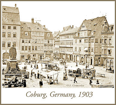 Street Market, Coburg, Germany, 1903, Vintage Photograph by A Gurmankin