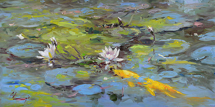 768 Koi and Lilies by Chuck Larivey