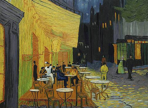 Cafe Terrace at Night by Marlena Jopyk-Misiak