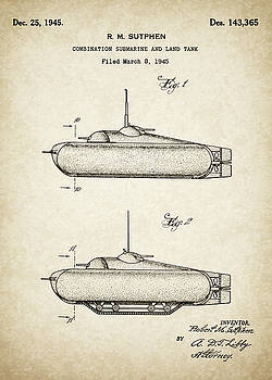 JESP Art and Decor - Patent Drawing for the 1945 R. M. Sutphen Combination Submarine and Land Tank Design