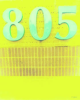 805 Turquoise on Bright Yellow and Biege Brick by Tony Grider