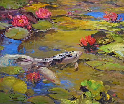 860 Koi and Lilies  by Chuck Larivey