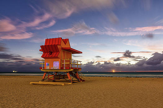 8th Street Lifeguard Tower at Twilight by Claudia Domenig