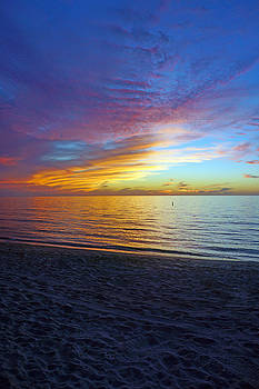 Sunset at Delnor Wiggins Pass State Park in Naples, FL by Robb Stan