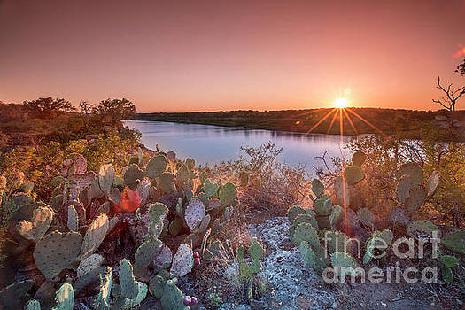 Herronstock Prints - A beautiful pink sunset falls on Pace Bend Park along scenic Lake Travis