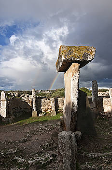 Pedro Cardona Llambias - A beautiful rainbow in a cloudy day in human settlement of bronze age