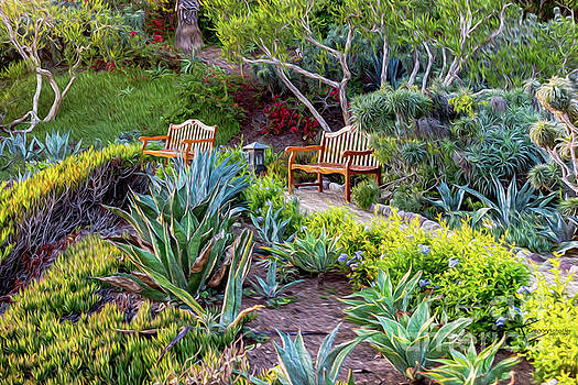 A bench to reflect in Laguna Bach by Gregory Schaffer