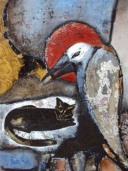 A Black Cat and Old Tired Crow by Olga Dmytrenko
