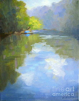 a Blue Boat by the River by Keiko Richter