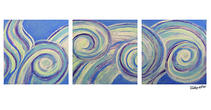 A Blue Day Painting Poster by Robert Erod by Robert R Splashy Art Abstract Paintings