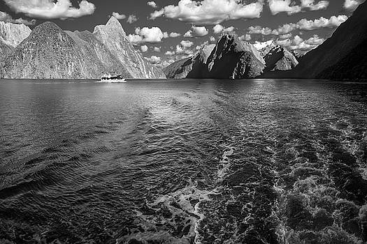 A boat ride in the morning at Milford Sound in black and white by Daniela Constantinescu