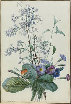 A Bouquet Of Flowers With Insects by Pierre Joseph Redoute