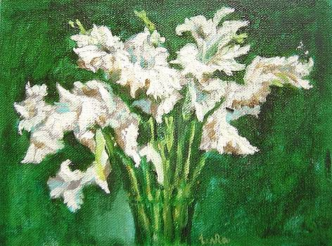 Usha Shantharam - A bunch of White Gladioli