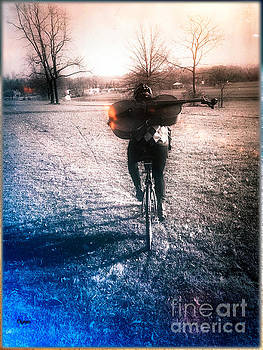 A Cellist by Bike  by Steven Digman