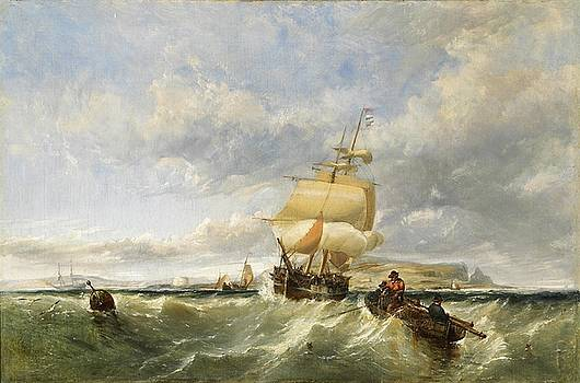 A coastal scene with shipping by Edwin Hayes