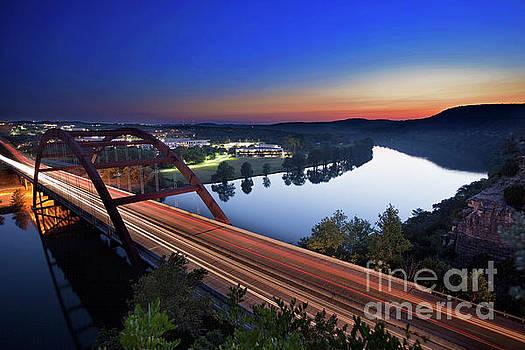 Herronstock Prints - A colorful Sunset falls on the Austin Loop 360 Pennybacker Bridg
