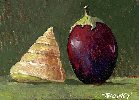 A Conversation, Eggplant Greeting Shell by Catherine Twomey