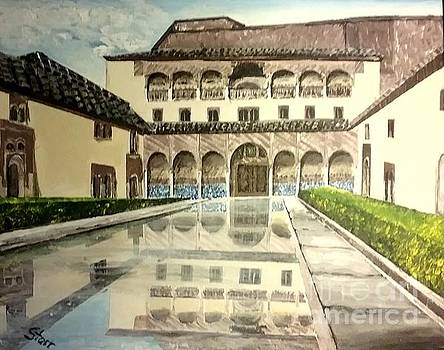 A Courtyard In Alhambra Spain by Irving Starr