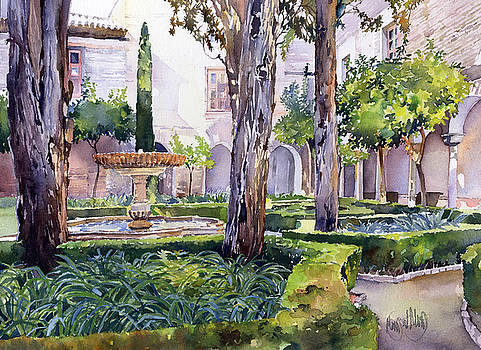 A Courtyard In The Alhambra, Granada by Margaret Merry
