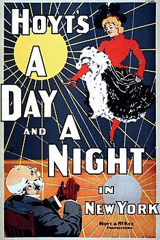 A Day and a Night in New York, performing arts poster, 1898 by Vintage Printery