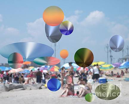 A Day at the Beach with Floating Metallic Icons by Joyce Dade
