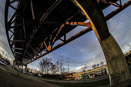 A fisheye view under the Chicago Skyway Bridge by Sven Brogren