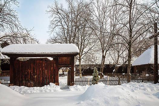 A gate to a winter village by Daniela Constantinescu