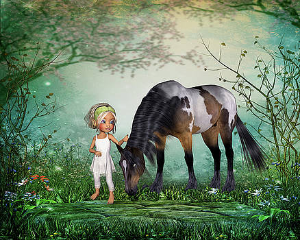 A girl and her horse by John Junek