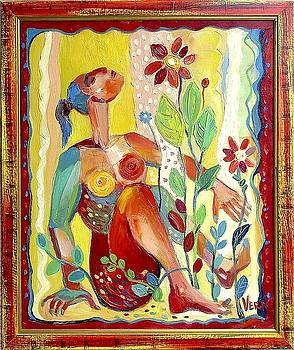 A girl in the garden by Vera Peneva
