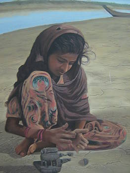 A Girl Playing With Clay ...culture by Jacob Joseph