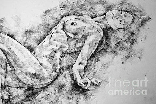 Dimitar Hristov - A girl poses a lying posture Close Up Art Drawing