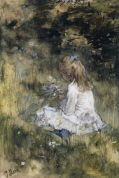 A Girl with Flowers on the Grass  Jacob Maris  1878 by R Muirhead Art