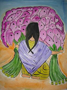 A girl with flowers by Sonali Singh