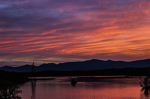 A glowing sunset over the Catskill mountains by Jessica Tabora